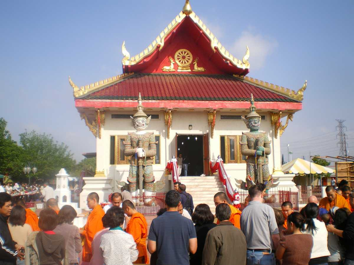 Songkran festival : Offering of tributes to monks