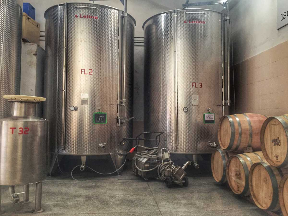 Stainless steel filtration tanks at Grover Zampa Vineyards