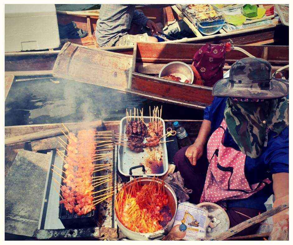 Vendor Selling Food at Tha Kha Floating Market