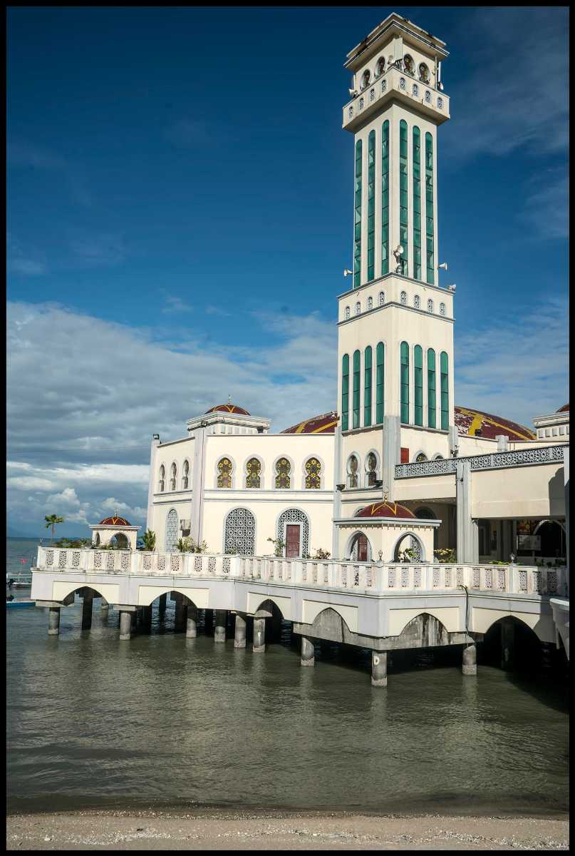 The seven-storey tower at Penang Floating Mosque