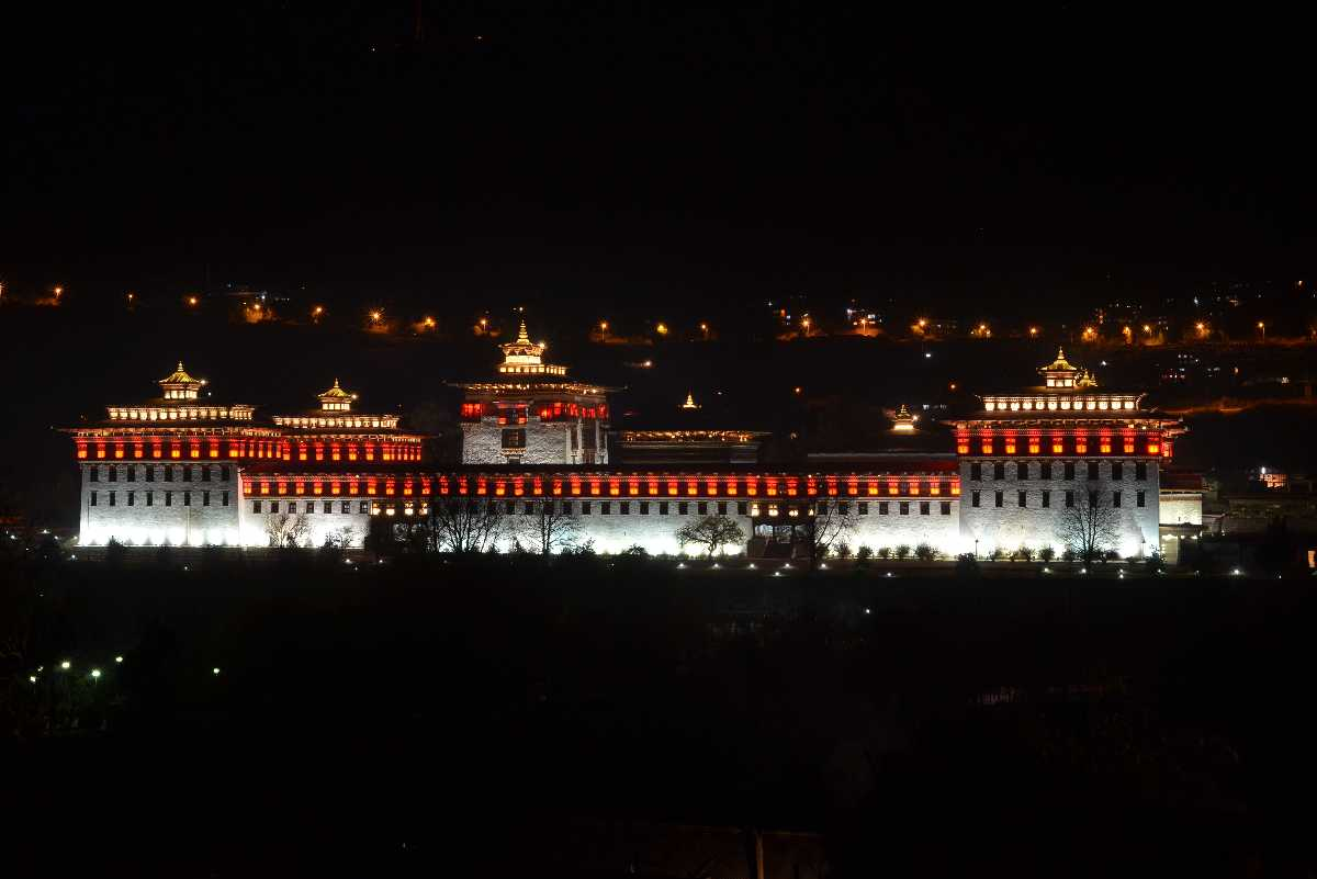 Tashichho Dzong at Night
