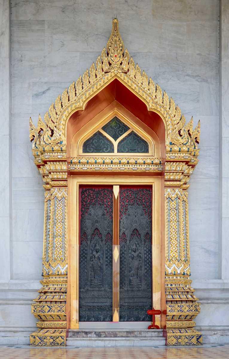 Door at Wat Benchamabophit Bangkok Thailand