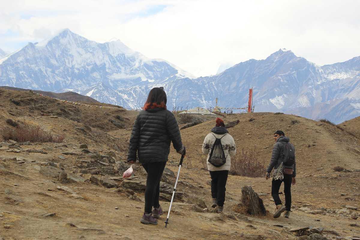 People trekking at Mustang