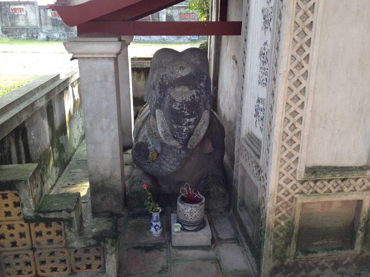 Kneeling Elephant Statue at Voi Phuc Temple Hanoi Vietnam