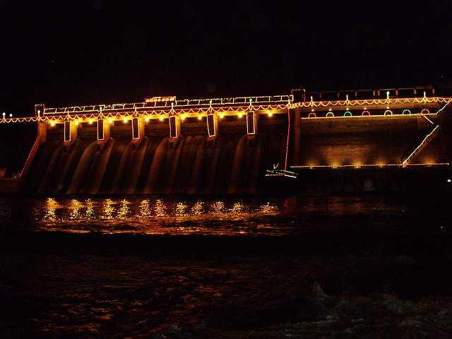 Vaigai Dam illuminated at night