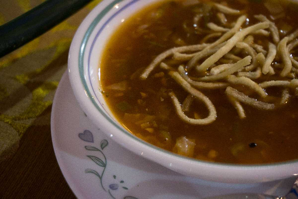 The manchow soup is one of the most popular dishes at the Sarangi Vegetarian Restaurant.