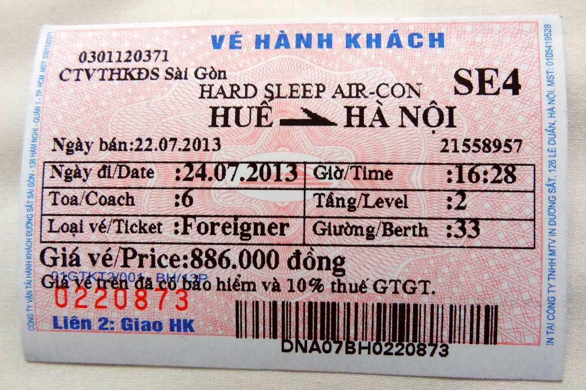 Train Travel in Vietnam, Train Ticket in Vietnam