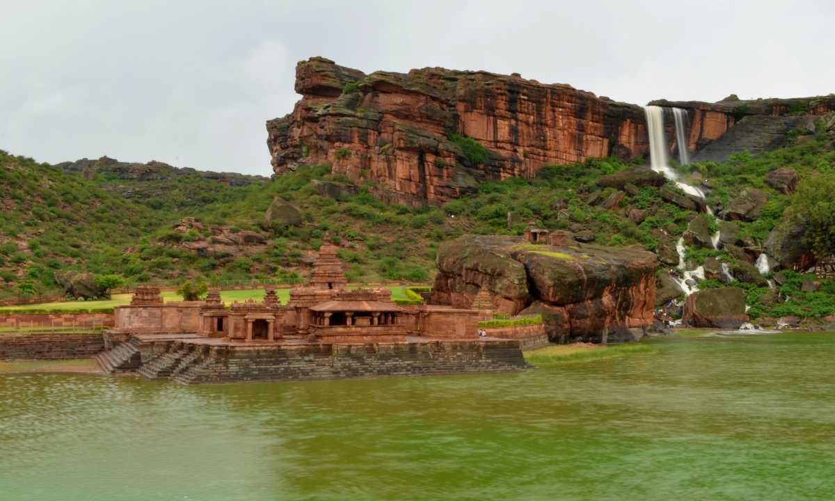 View of Bhutanatha temple in Badami during monsoon