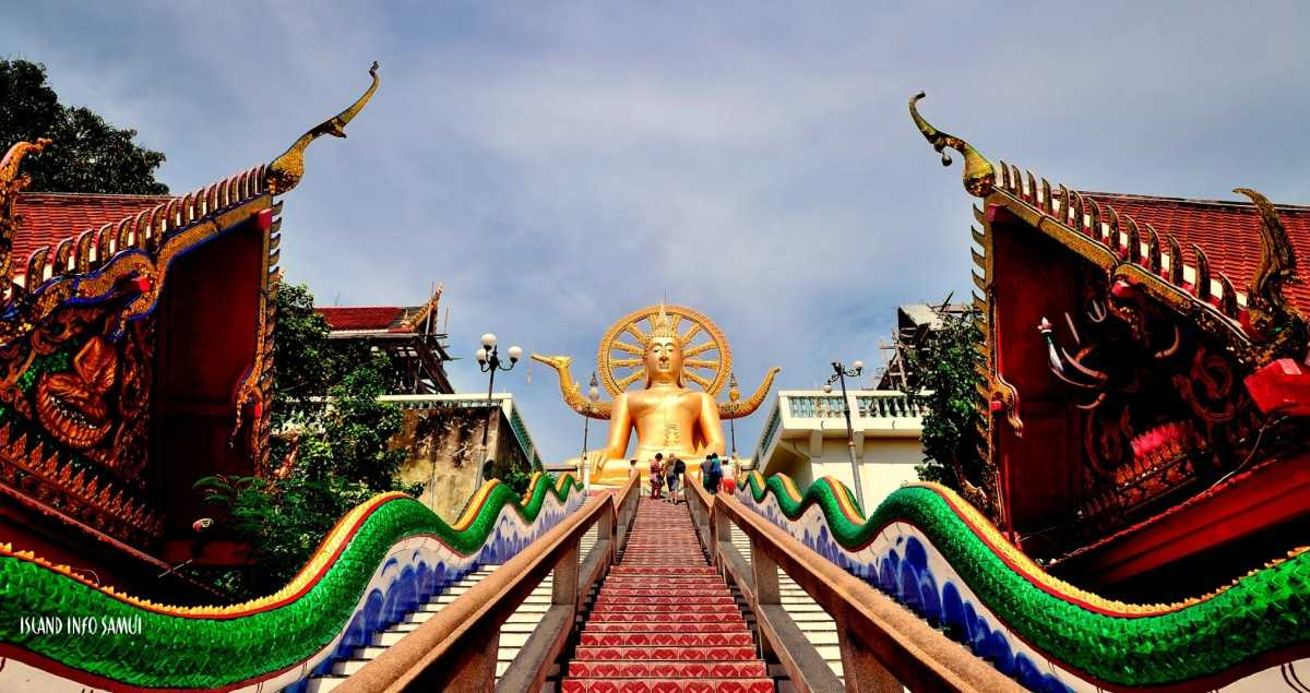Stairs Leading to the Big Buddha Statue at Wat Phra Yai