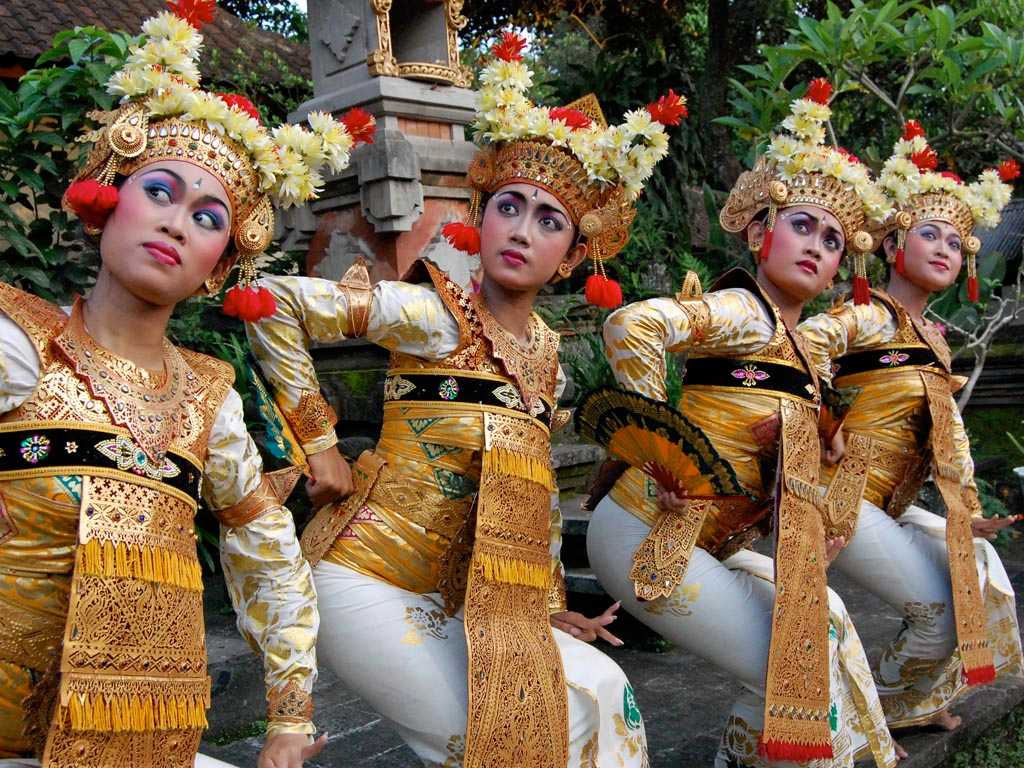 Balinese Dancers Performing a Traditional Dance of Bali