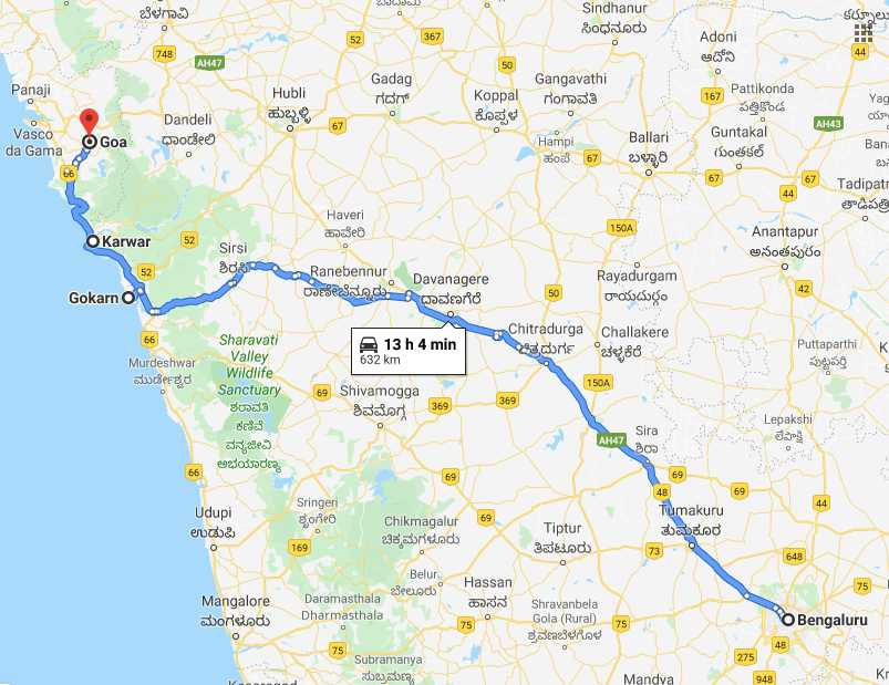 Bangalore to Goa Route 2