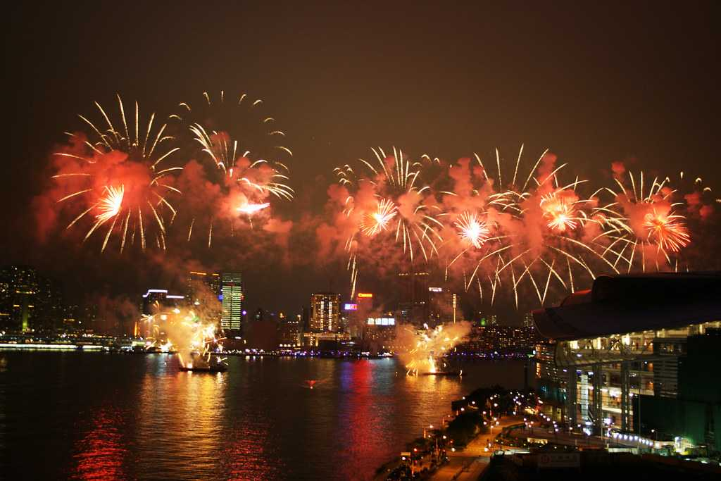 Firework Show at the Victoria Harbour, Chinese New Year in Hong Kong