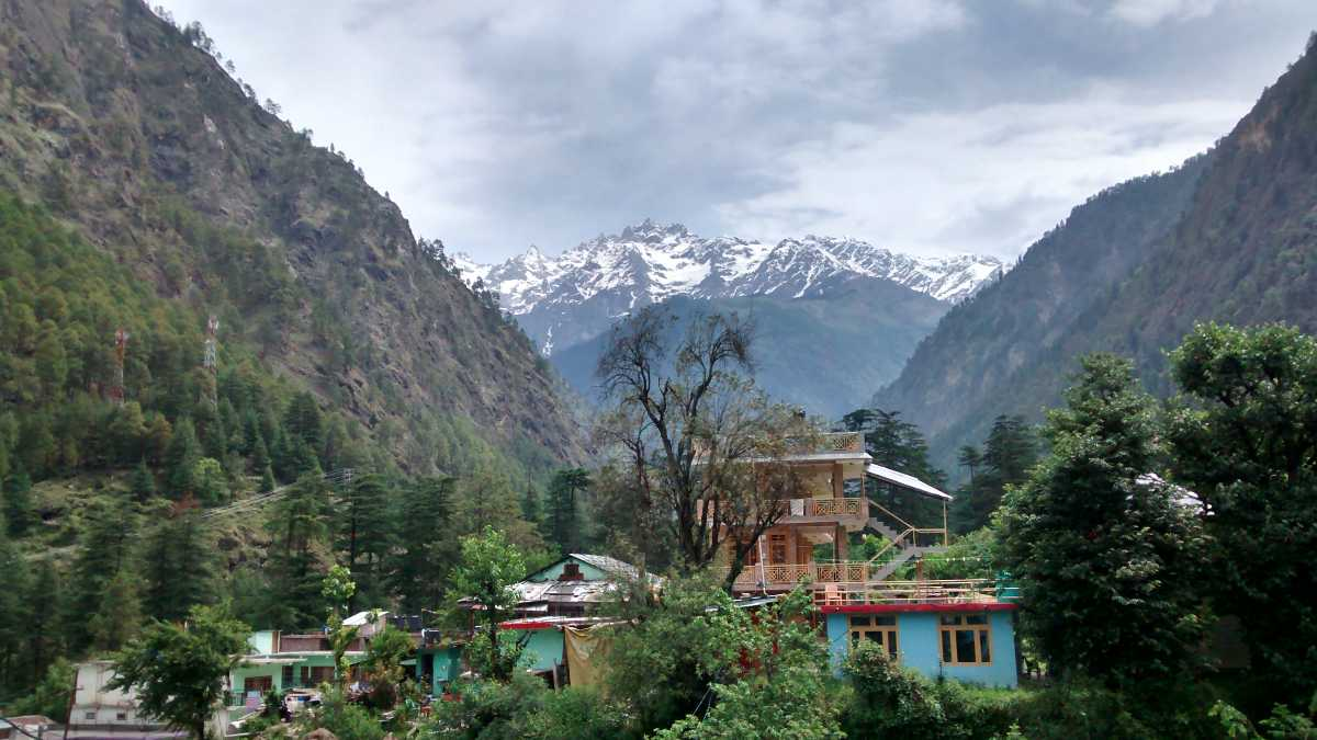 View of snow capped Shivalik ranges from Kasol