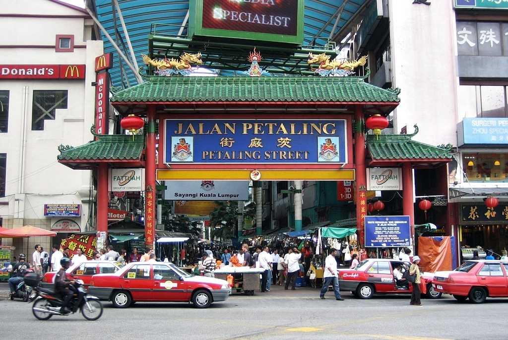 Bustling street of Chinatown in Kuala Lumpur
