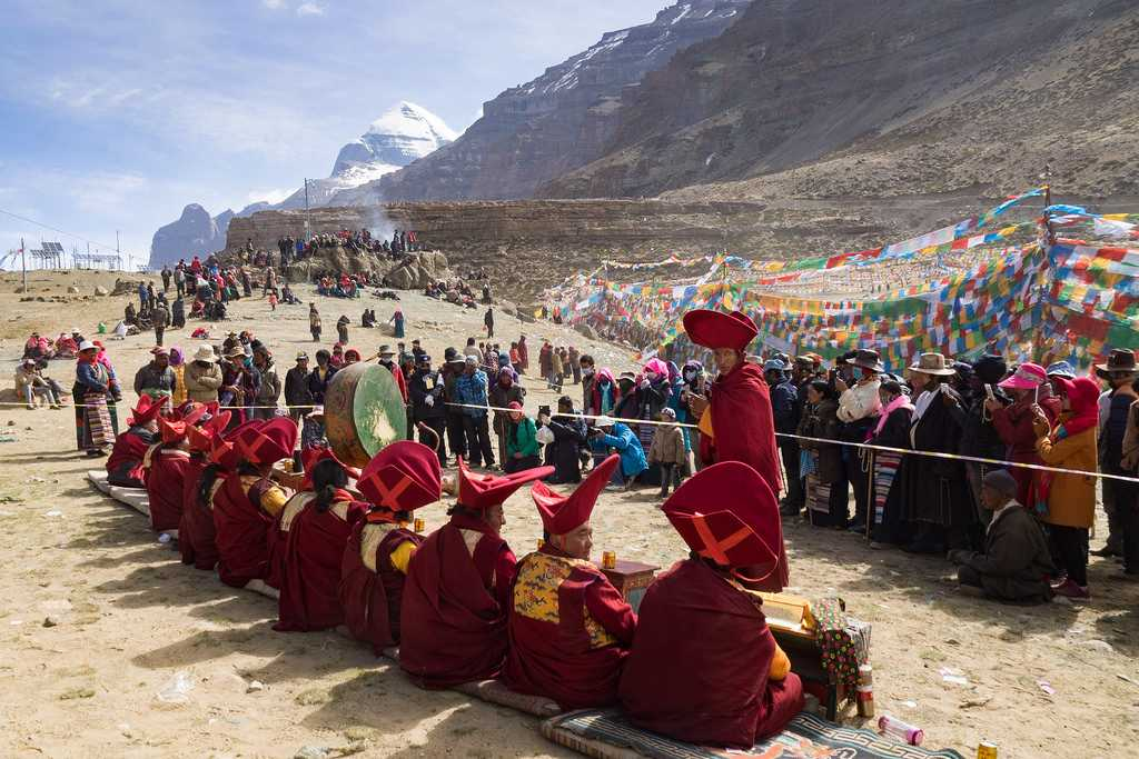 Monks and People of Sikkim at the Festival