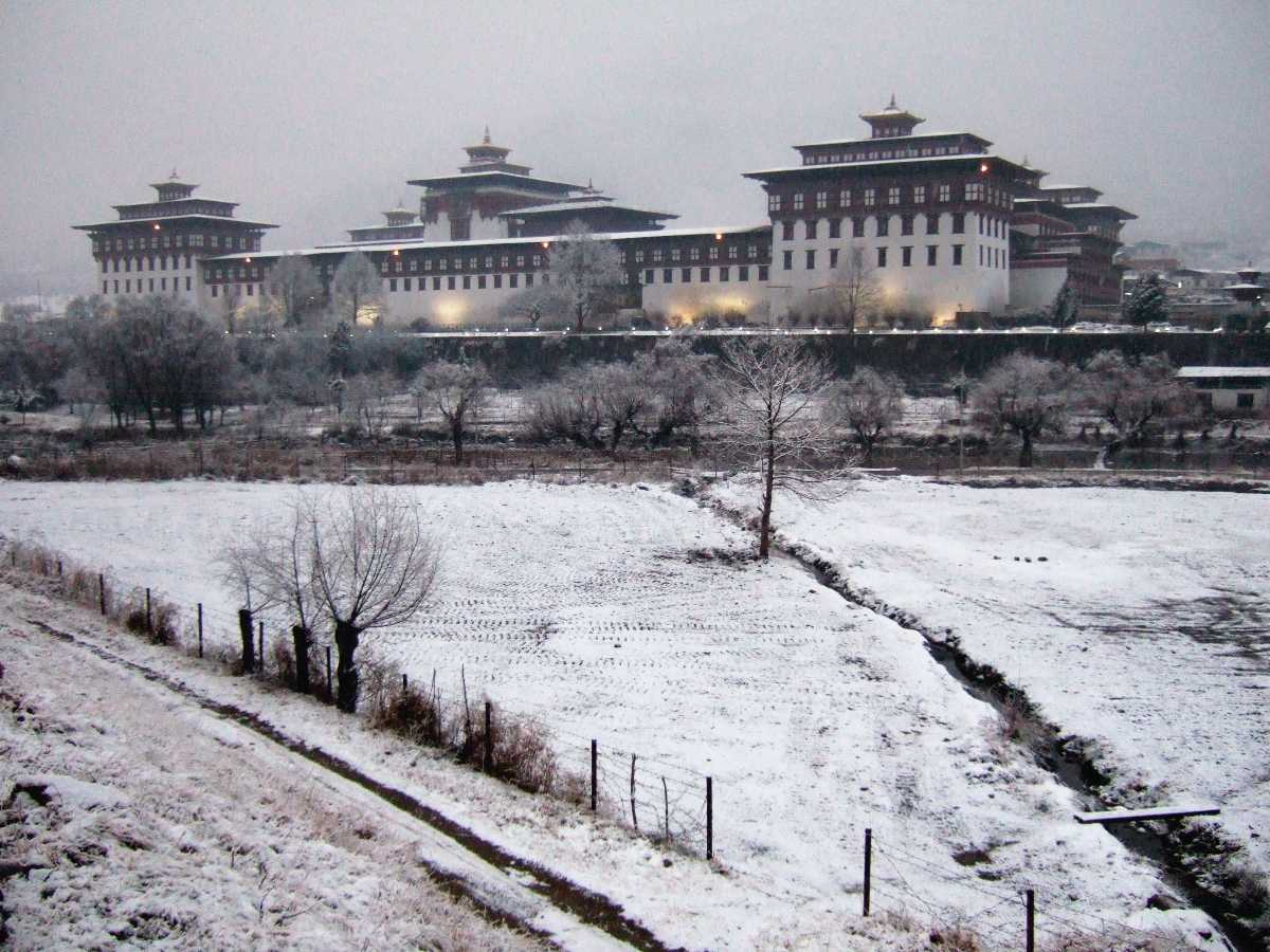 Tashichho Dzong in Winter