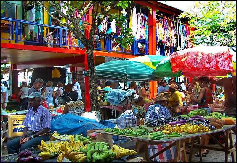A fruit market in Port Victoria, capital city of Seychelles.