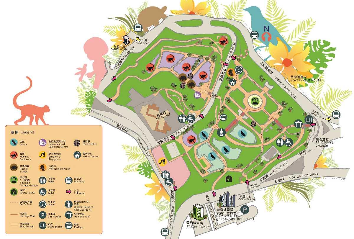 Hong Kong Zoological And Botanical Gardens Map