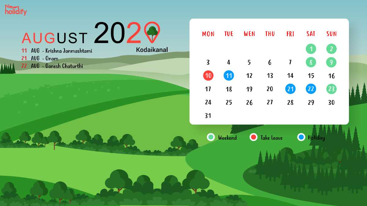 August Holiday Calendar