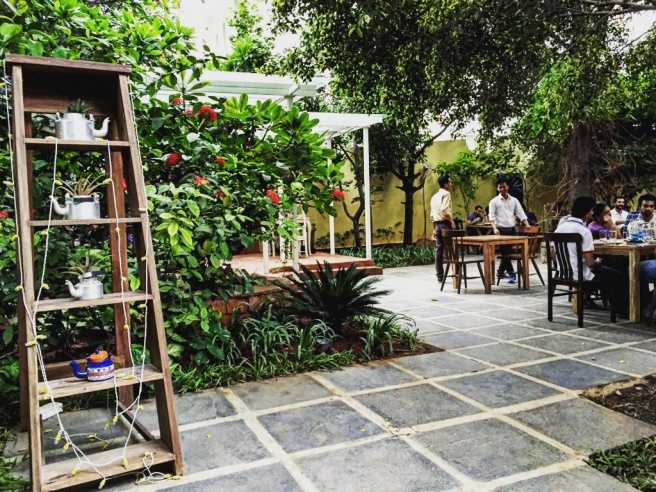 Courtyard of Autumn Leaf Cafe in Hyderabad