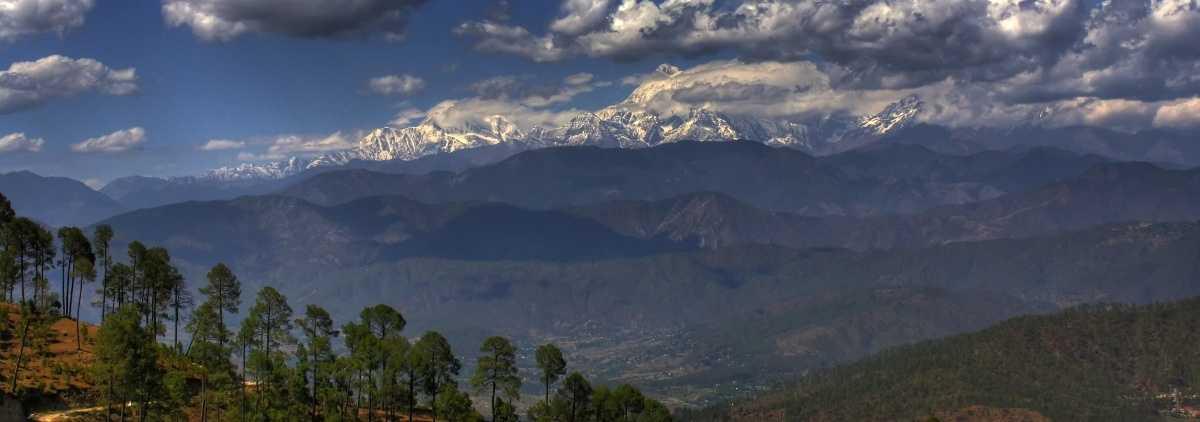 Himalayan Panoramic Landscape as seen from Kausani