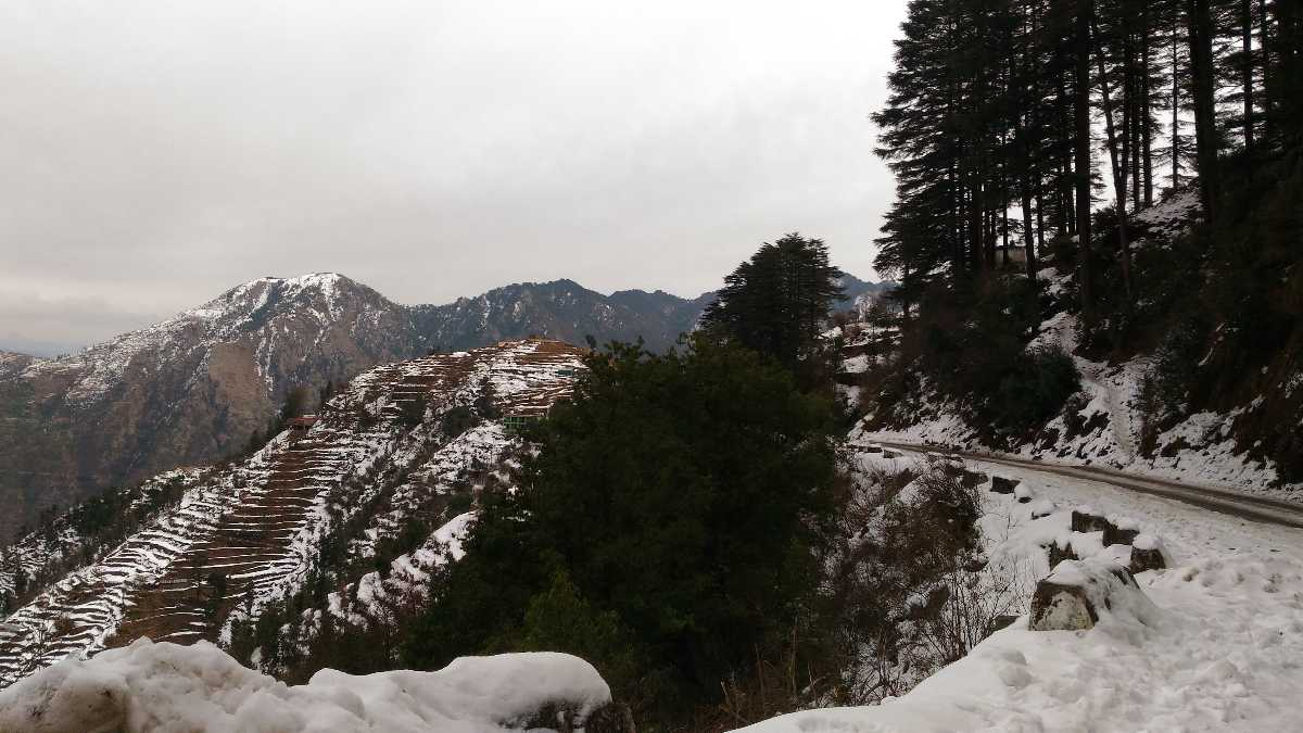 Snow covered Mussoorie Mountains