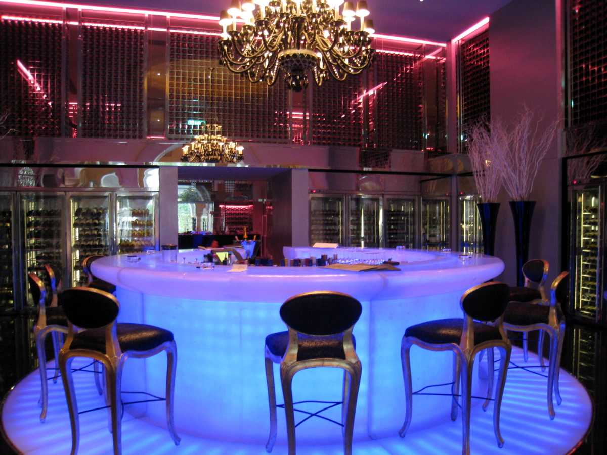 The Personal Champagne Bar set up inside the casino