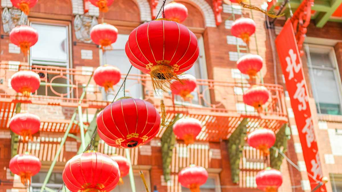 Red paper lanterns, Chinese new year in Thailand