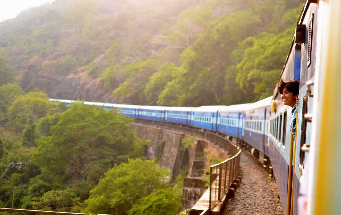 Backpacker traveling in Train in India