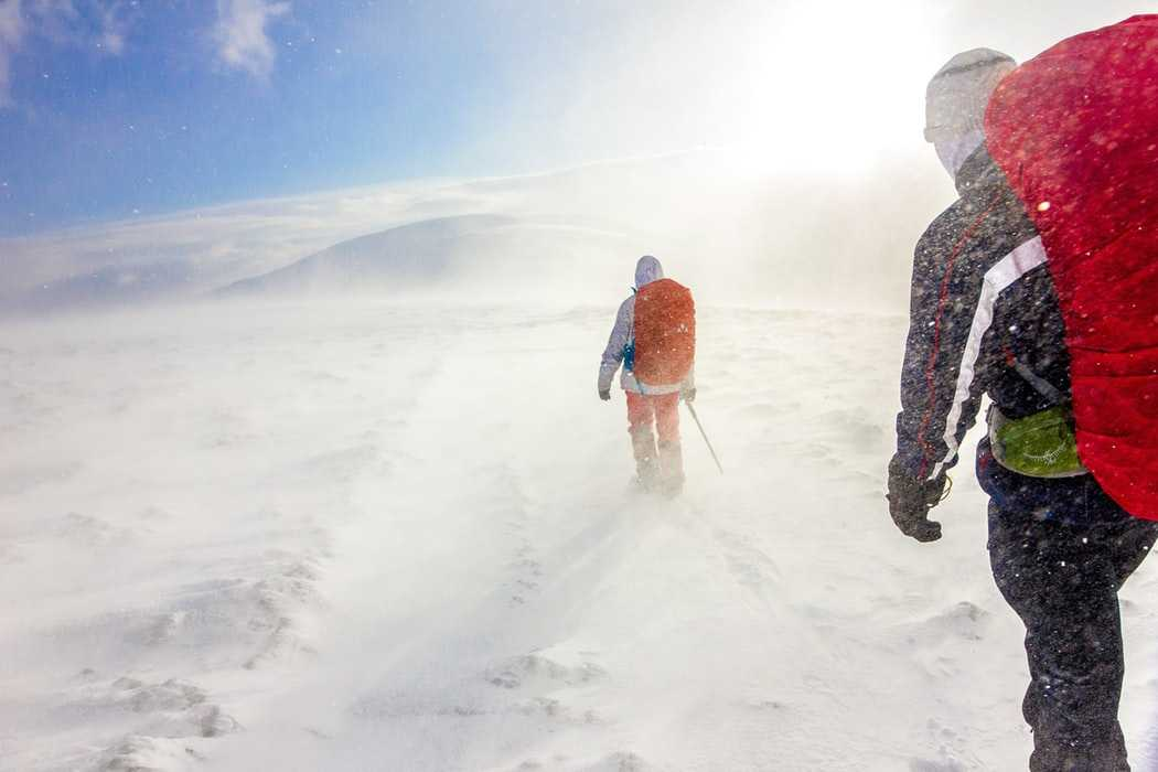 Winter winds during the snow trek in India