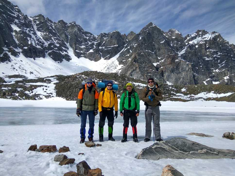 Group of trekkers posing for a picture on a snow trek