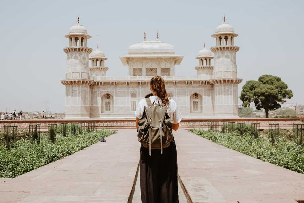 Woman backpacking in India