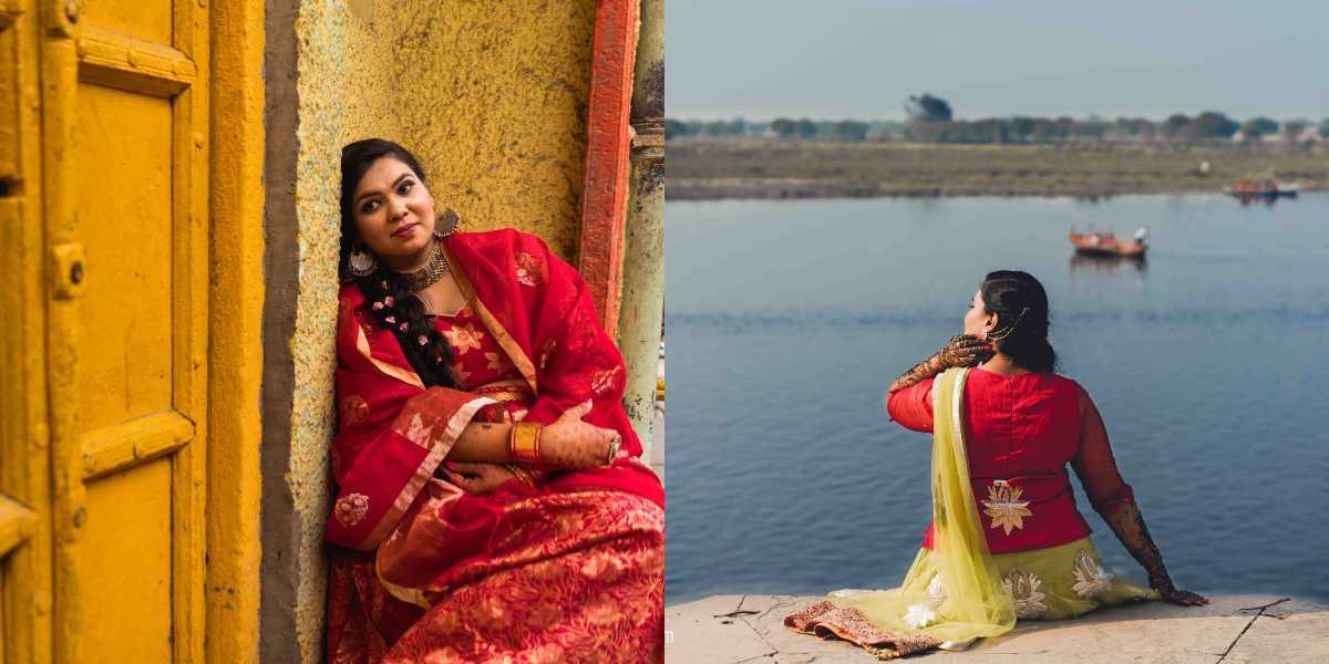 L: Resting against a yellow door in Mathura R: Facing the Yamuna river at Vindavan