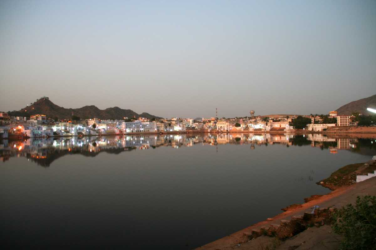 Evening lights by the Pushkar Lake