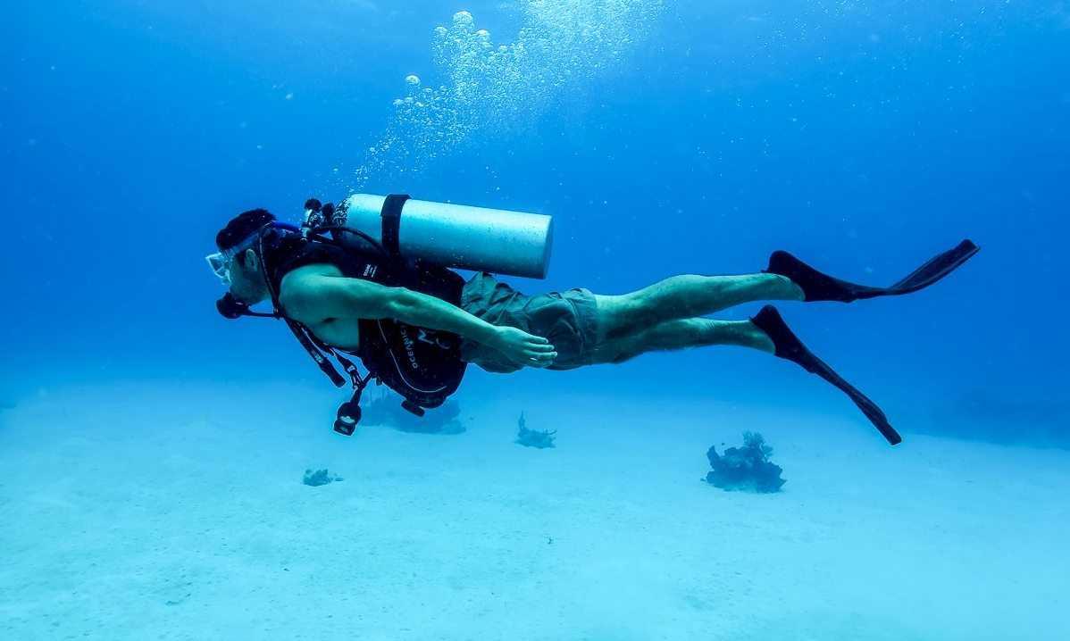 Diver exploring underwater world of Netrani Island