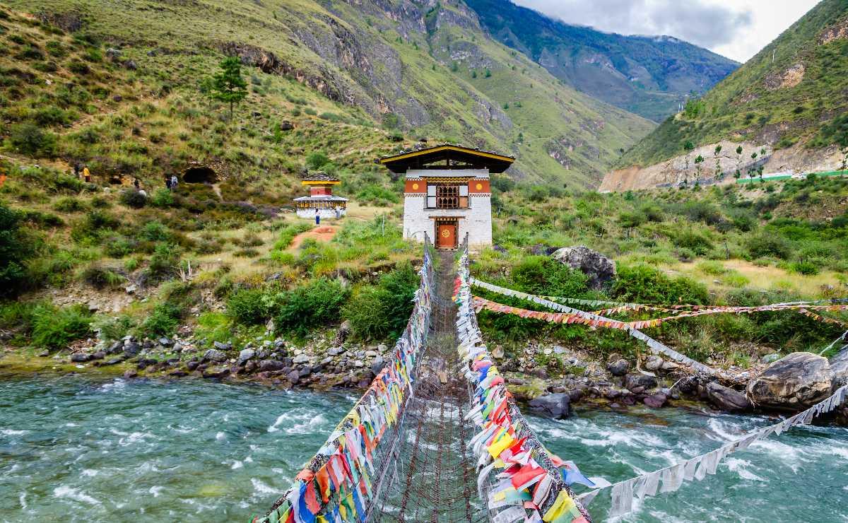 Iron Chain Bridge of Tamchog Lhakhang Monastery, Paro River, Bhutan