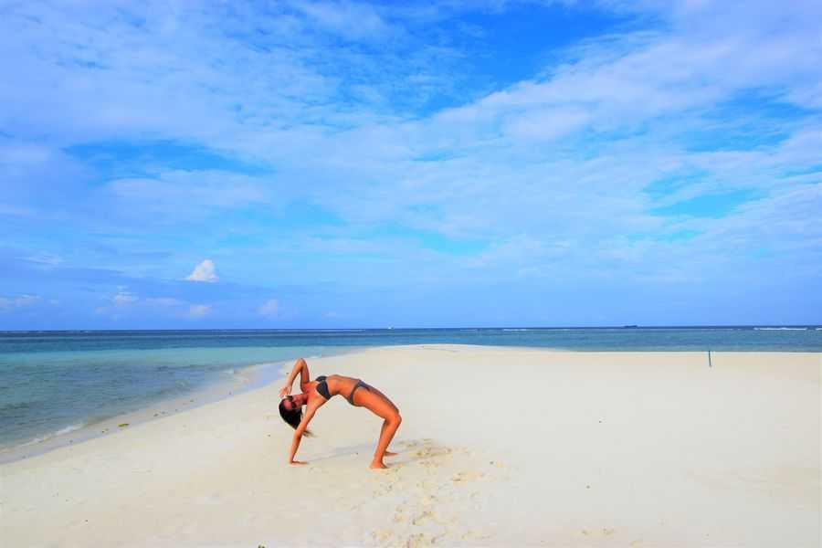Woman at Gaafaru Bikini Beach in Maldives