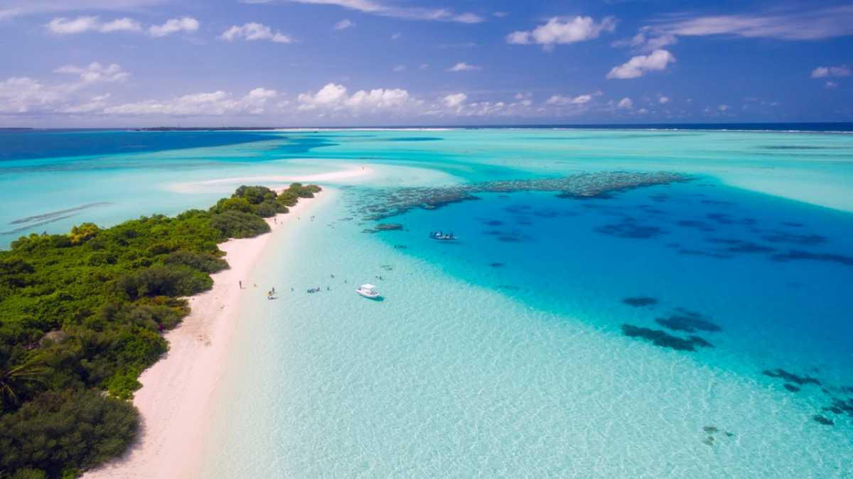 Tropical aerial view of Maldives