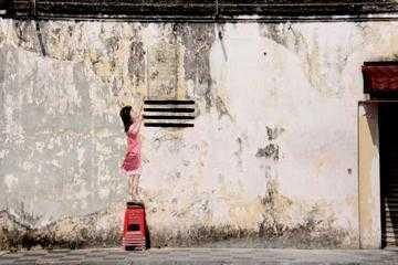 A Girl mural, Art of Oldtown Ipoh